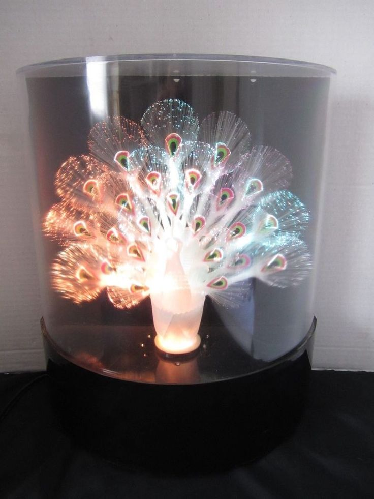 Vintage Peacock Light Fiber Optic Color Change White