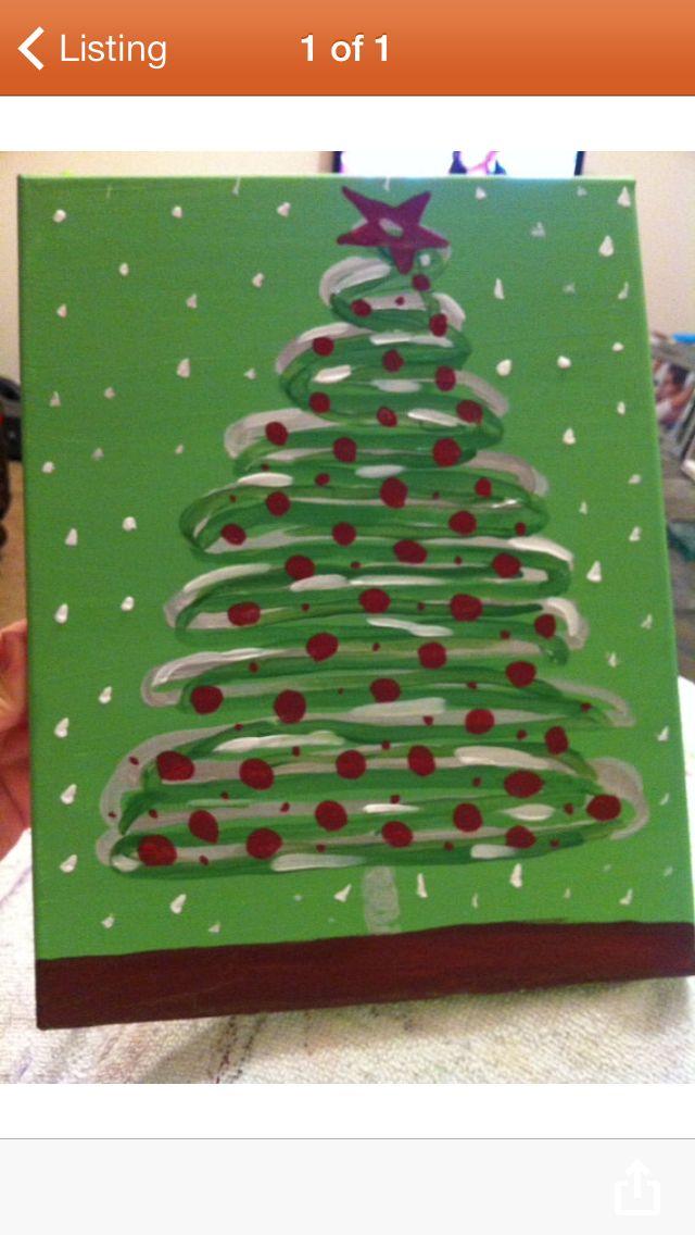 Canvas Christmas tree via etsy