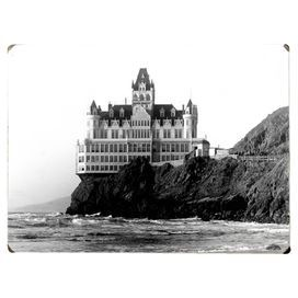 """Wood wall art depicting a vintage image of the Cliff House Hotel in San Francisco, California.   Product: Wall decorConstruction Material: Wood Features:  Great addition to any roomReady to hang Hardware includedDimensions: 12"""" H x 16"""" WCleaning and Care: Wipe with damp cloth"""