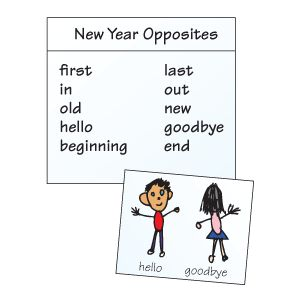 Ring in the new year with a quick opposites lesson. On chart paper write the following words: first, in, old, hello, and beginning. Discuss opposites with youngsters and give them a few examples. Read the list of words to youngsters. Then ask students to try to name an opposite for each word. Record their answers and then read them aloud.