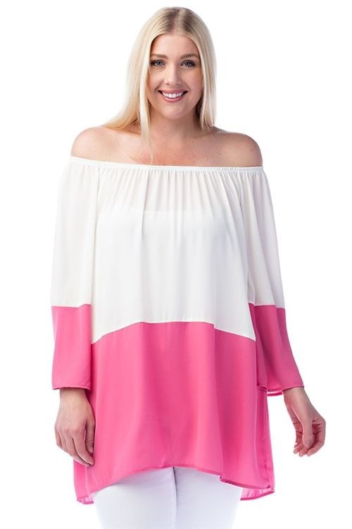 New Trendy Ivory Pink Off Shoulder Plus Size Tunic For Women 1XL - 2XL - 3XL  #Unbranded #IvoryPinkOffShoulderPlusSizeTunic