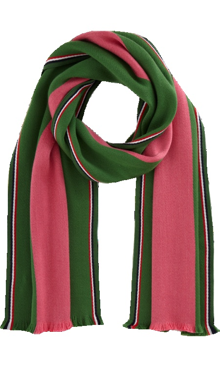 Pink and green striped scarf