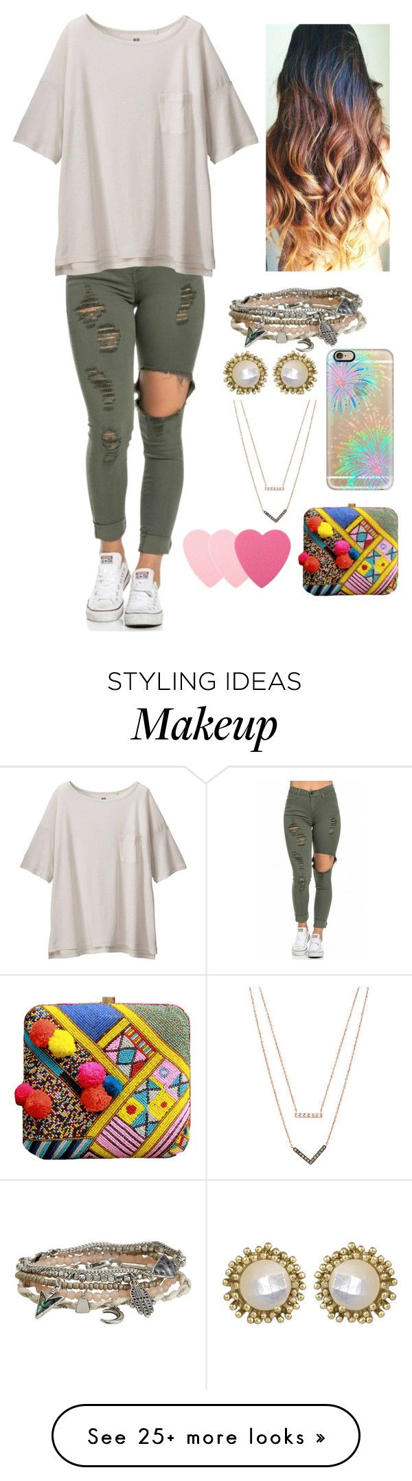 """casual"" by genesisdallas on Polyvore featuring Uniqlo, Aéropostale, Kendra Scott, Michael Kors, Casetify, Sephora Collection, women's clothing, women's fashion, women and female"