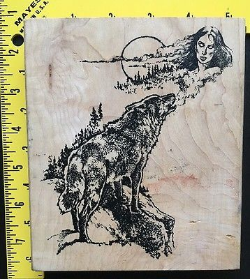 RARE-Rubber-Stamp-NATIVE-AMERICAN-amp-WOLF-by-ARIZONA-STAMPS-TOO-Ariz-Indian-Moon