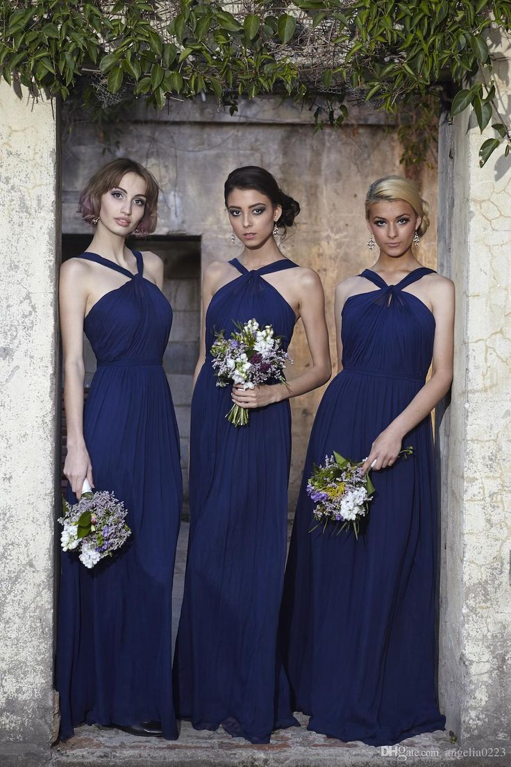 38 best bridesmaid dresses images on pinterest wedding parties 2016 royal blue chiffon bridesmaid dresses new halter long chiffon floor length bridesmaids maid of honors dresses wedding gowns ombrellifo Images