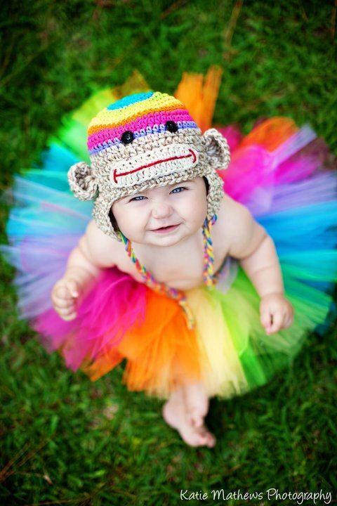 6-24m size Birthday Tutu set, baby girl tutu, Rainbow silly sock monkey crochet animal stripe bright hat photography prop on Etsy, $52.00