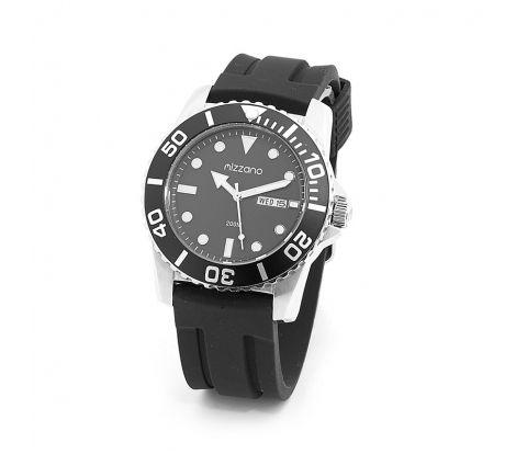 Mizzano Mens divers 200m watch with black silicon band