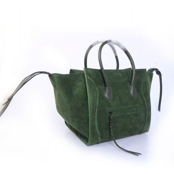 61a36bf1df0 Celine Phantom Bag Luggage Moss Green Suede Black Leather Handbag Tote  ( 337) found on Polyvore   Fashion   Green suede, Black leather handbags,  ...