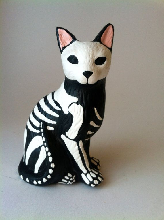 Day of the dead cat sculpture hand painted cat by SpiritofAine
