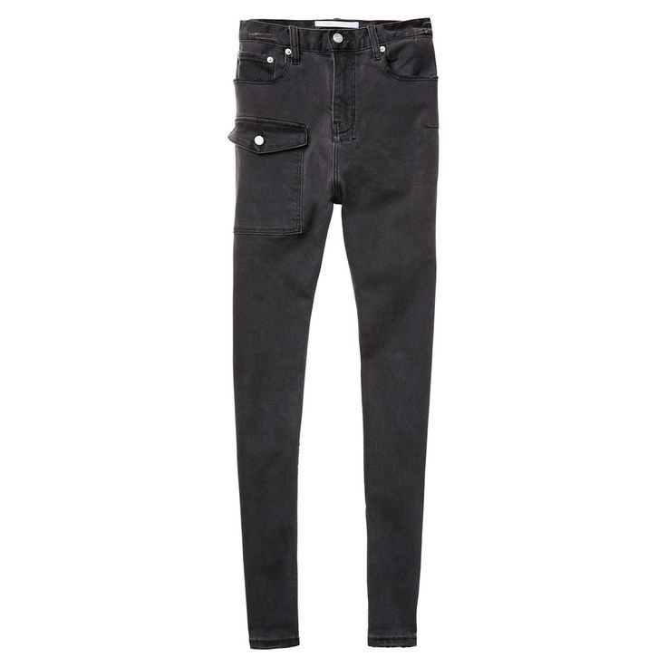 Done in washed-black denim with a slim-fit leg, these drop-crotch jeans can easily look dressed up with architectural heels and a tailored blazer.