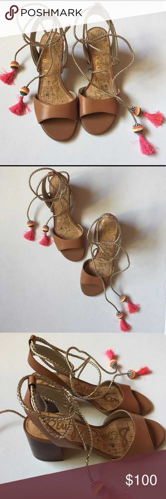 """Sam Edelman Shani Block Heel Sandals Tan Wrap Tie Sam Edelman Shani Saddle Leather Sandals  These super cute pair of Sandals feature a block heel w/ Metallic Ankle Wrap! Adorned with Vibrant pink tassels and multi color beaded accents! These shoes scream summer vibes!  Perfect for a day date or brunch near the beach! Tip: paired with a wide brim hat and an off-the shoulder dress! You will be looking summer chic!  Condition: Brand New with Box! Measurements: Size: 7.5M Heel: Approx 2.5""""…"""