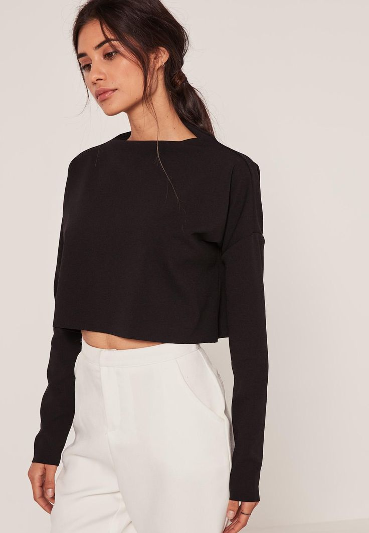 Missguided - Crepe High Neck Jean Grazer Top Black