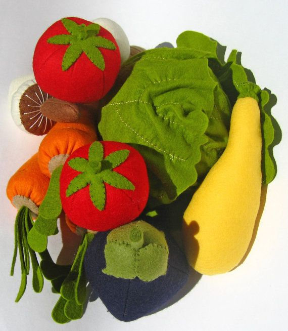 Natural Merino Wool Felt Play Food  Yellow Squash