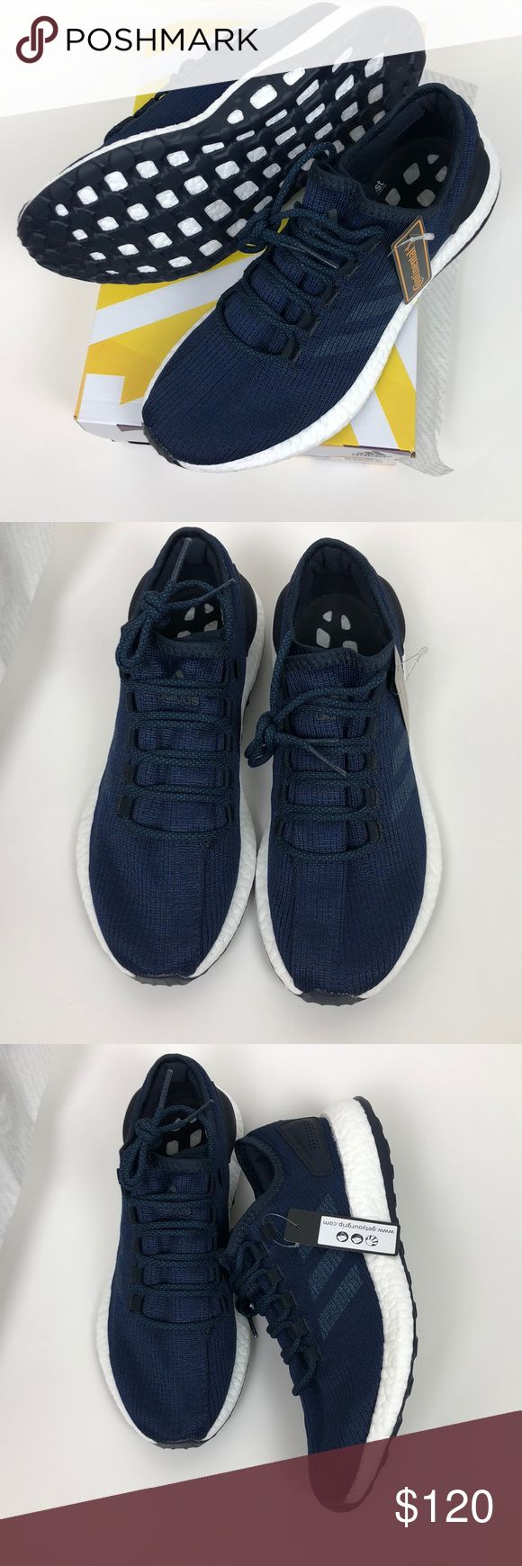Adidas Navy pure boost Adidas pure boost in Navy NWT  Brand new never worn. Box not included  So comfortable adidas Shoes Athletic Shoes