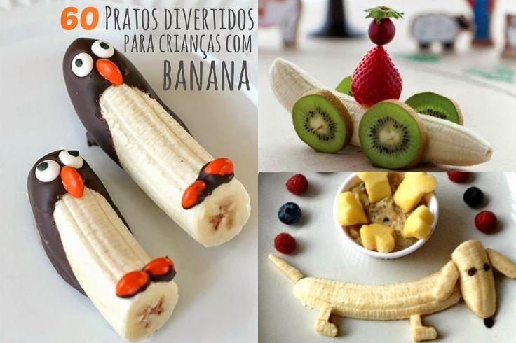 Seus filhos não estão comendo frutas, e você não sabe mais o que fazer? Hoje deixo uma super dica: Aposte nos pratos criativos! Selecionei 60 ideias de pratos divertidos para crianças com banana!   Confiram: http://www.gemelares.com.br/2014/09/60-pratos-divertidos-para-criancas-com-banana.html
