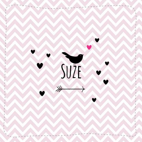 Lief geboortekaartje met stoer chevron patroontje met daarop een pijl, vogeltje en hartjes. #geboortekaartje #zwanger #chevron #vogeltje