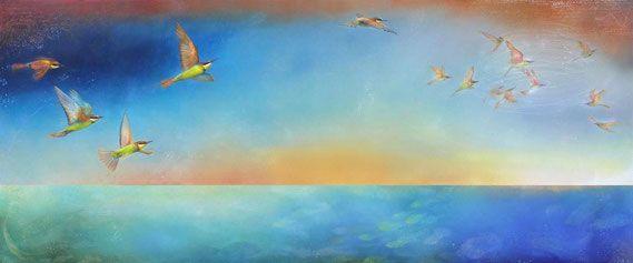 Линда Лоу, «Движение вперед», 2017, акварель и масло на панели, 36 х 86 дюймов », 19 000 долларов