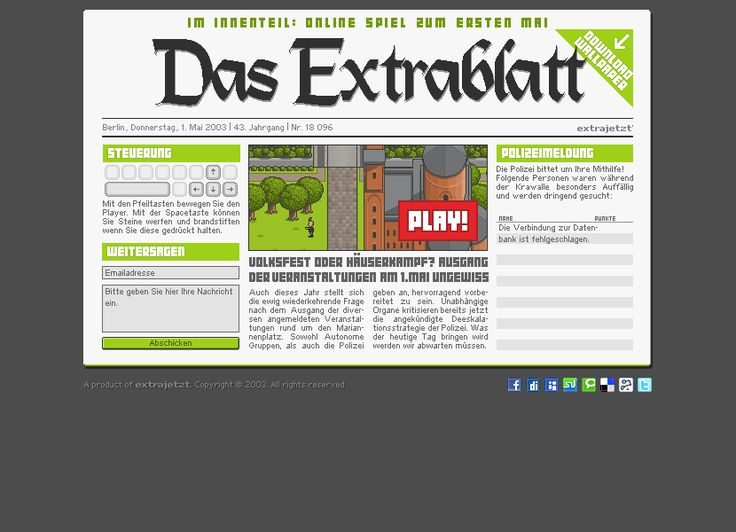 Das Extrablatt website in 2003