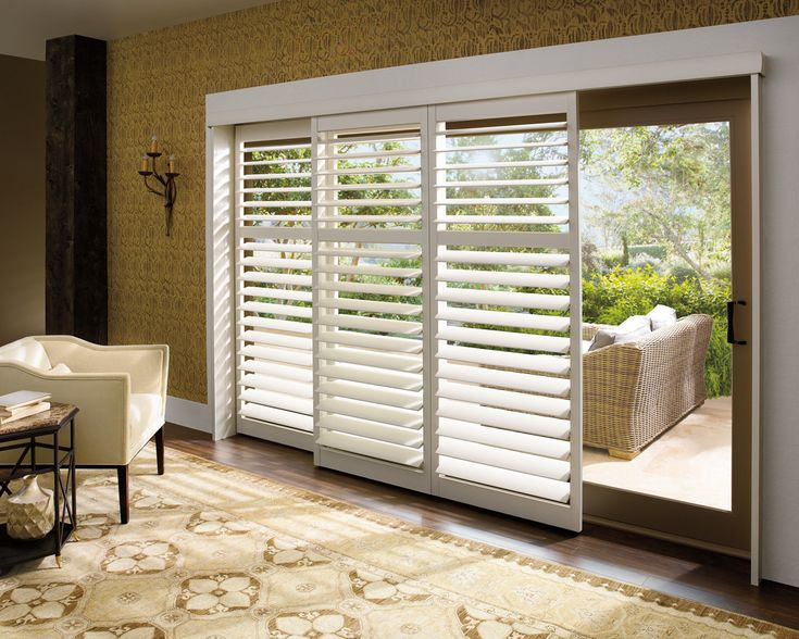 Beautiful Hunter Douglas Composite Shutters on this sliding glass door!