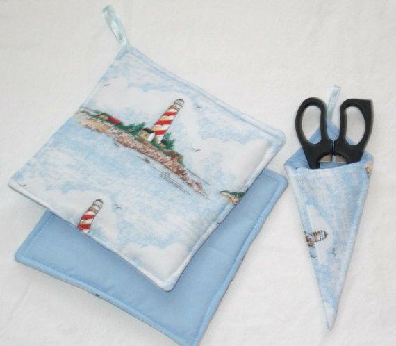 Nautical Kitchen  Potholders and Scissor holder  3 by sewinggranny