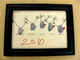 thumbprint reindeer family portraits