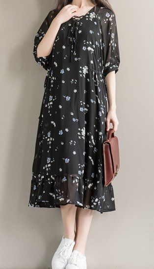 Women loose fit over plus size vintage flower chiffon dress skirt blouse tunic #Unbranded #dress #Casual