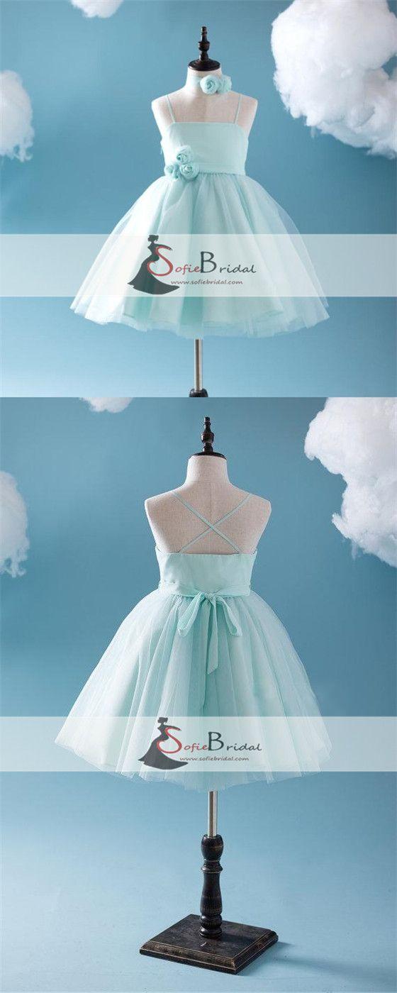 Cute Tiffany Blue Spaghetti Tulle Satin Flower Girl Dresses, Cheap Popular Little Girl Dresses, FG050 #Sofiebridal #flowergirldresses #weddings