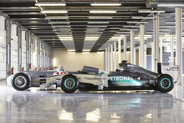 MERCEDES AMG PETRONAS and Mercedes-Benz W 196 at Silverstone, 31 May 2013 #F1 #MercedesBenz