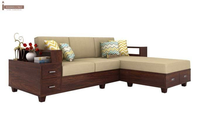 Buy Solace L Shaped Wooden Sofa Walnut Finish Online In India Wooden Street Living Room Sofa Design Wooden Sofa Designs Living Room Sofa Set