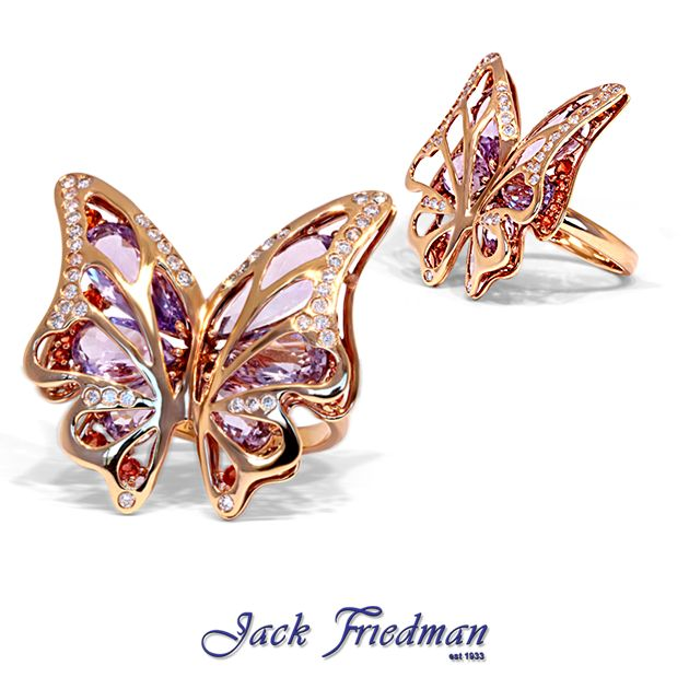 Butterfly ring with gemstones set in rose gold jackfriedman.co.za