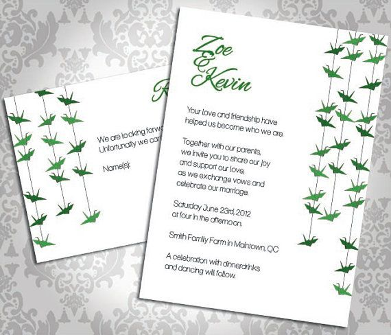 Wedding Invitation Paper Crane Party Invitation By