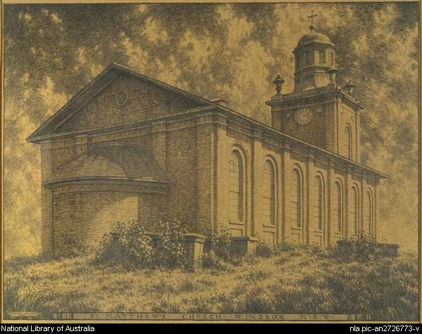 St. Matthew's Church, Windsor, N.S.W. designed by Francis Greenway - sketch by Hardy Wilson, 1919.