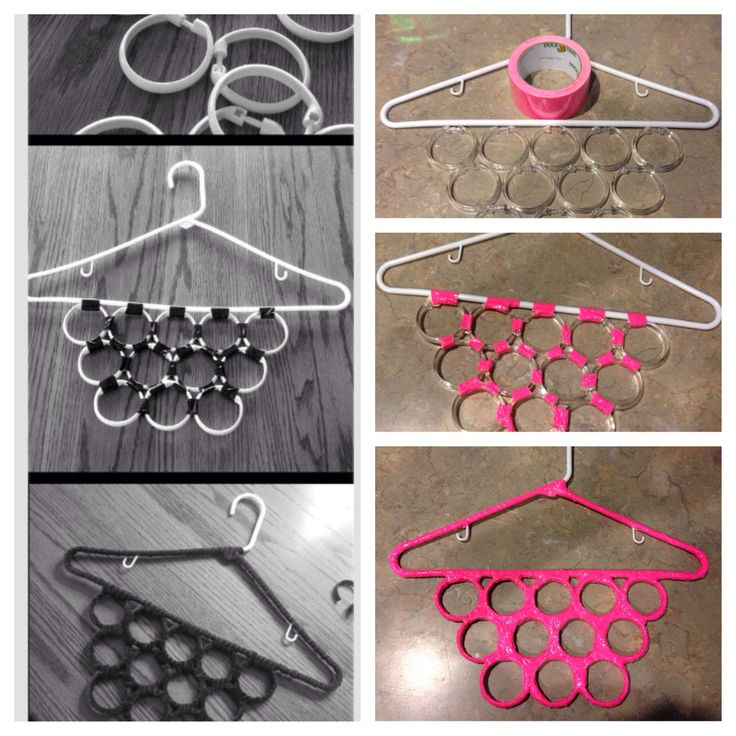 DIY scarf hanger. *You can also add the shower curtain rings to the inside of the hanger.