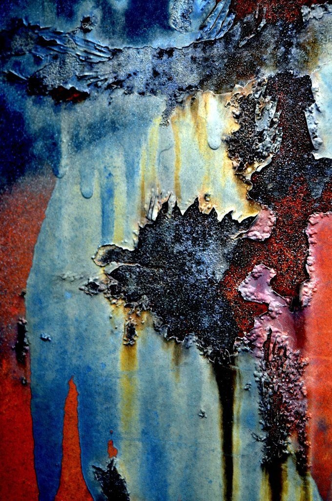 A striking image of the colorful processes of rust on metal. Contemporary abstract composition using digital images of rusted and weathered metal surfaces. Using digital photography images, the high q
