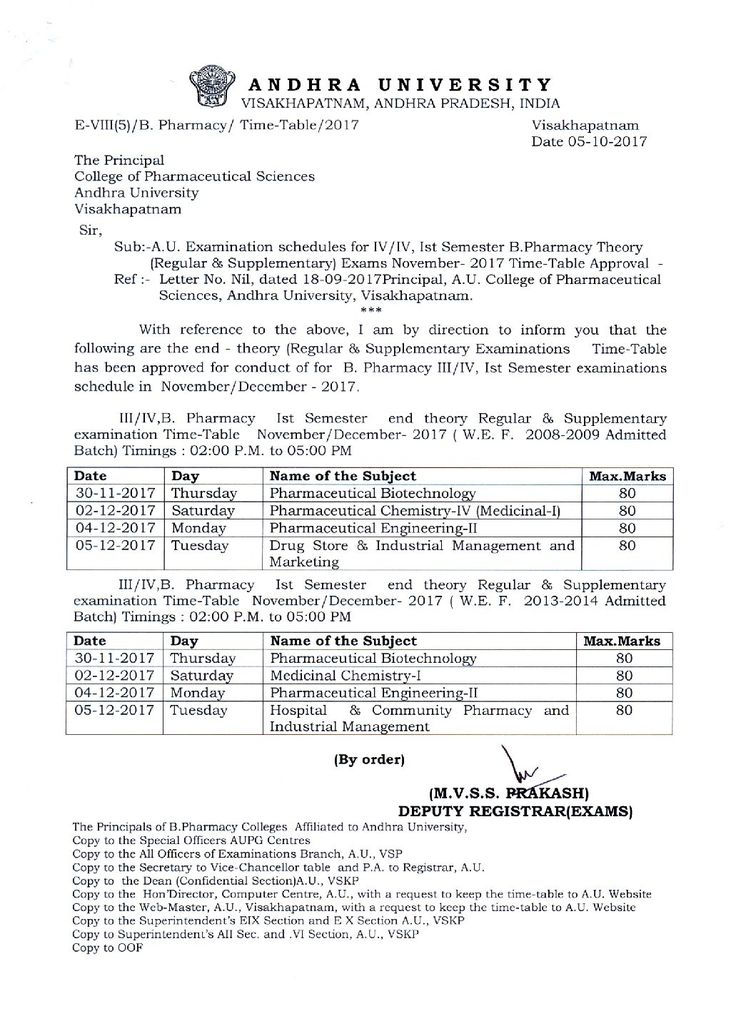 ANDHRA UNIVERSITY BPharmacy III IV First Semester Regular and - pharmacy letter