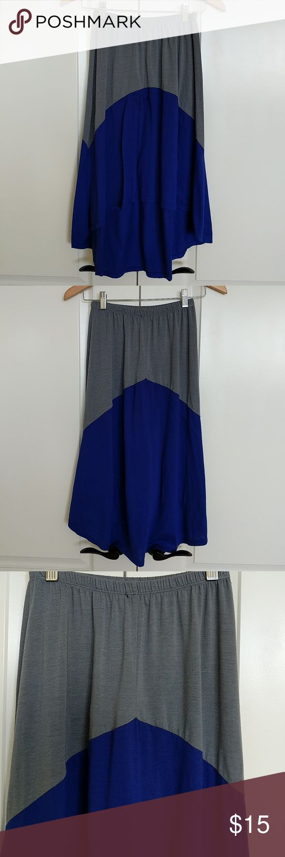 Hi-Lo Color Block Skirt @tea_n_yoga at Poshmark  Hi-Lo color block skirt with elastic waist band.    80% polyester 17% rayon 3% elastano Skirts High Low