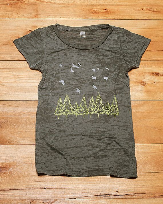 go take a hike Birds and Trees Burnout Tshirt by nicandthenewfie, $26.00