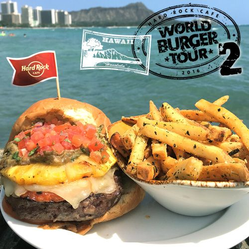 Introducing the ALOHA BURGER all the way from Honolulu and available at the Hard Rock Cafe Manchester throughout May! It's a beef patty topped with grilled Span, Monterey Jack cheese, a grilled pineapple ring with sweet soy glaze, guacamole and pico de gallo! #ThisIsHardRock #WorldBurgerTour #Honolulu #Hawaii #Manchester