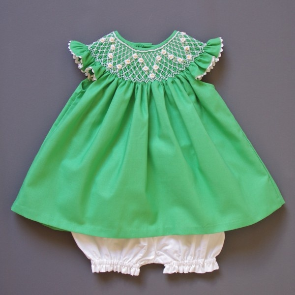 coquito smocked baby dress - emerald