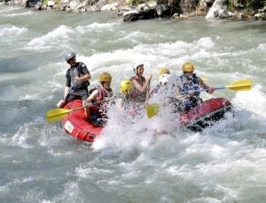 A family adventure holiday White Water Rafting in the Pyrenees in France