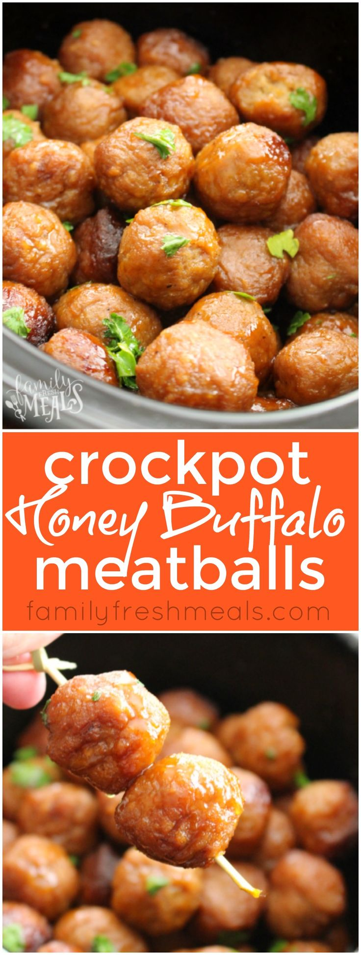 Honey Buffalo Crockpot Meatballs -Love this appetizer recipe- FamilyFreshMeals.com - Love this appetizers