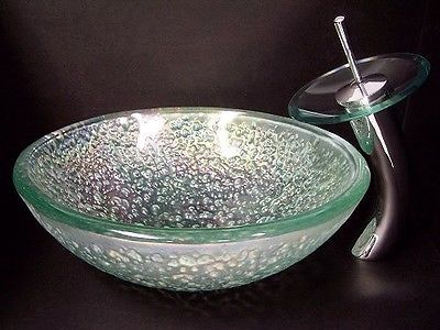 Superior Crystal Reflections Bath Tempered Glass Vessel Sink Chrome Waterfall Faucet  Set | EBay