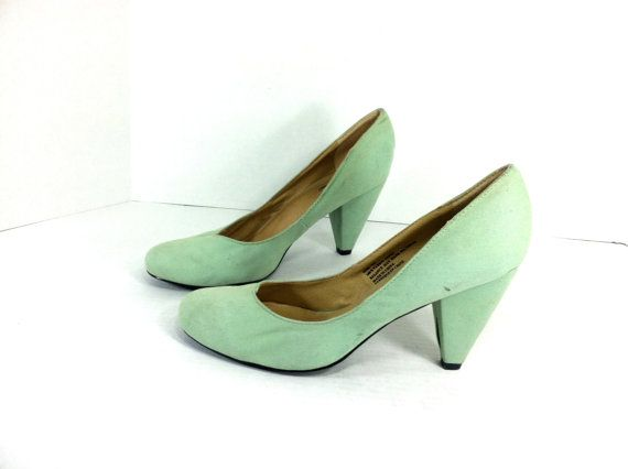 Mint Green High Heel Pumps 10  Seafoam Green by MelissaJoyVintage, $34.00
