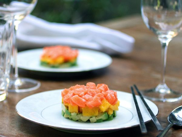 Salmon tartar with avocado and mango - my mango obsession continues