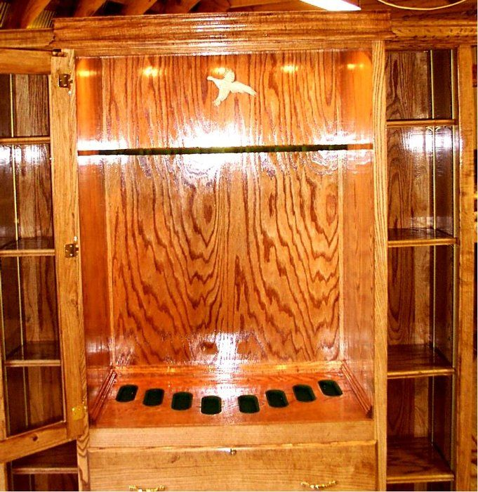 Attractive I Built This Lighted Gun Cabinet From Red Oak With Display Shelves On Each  Side.