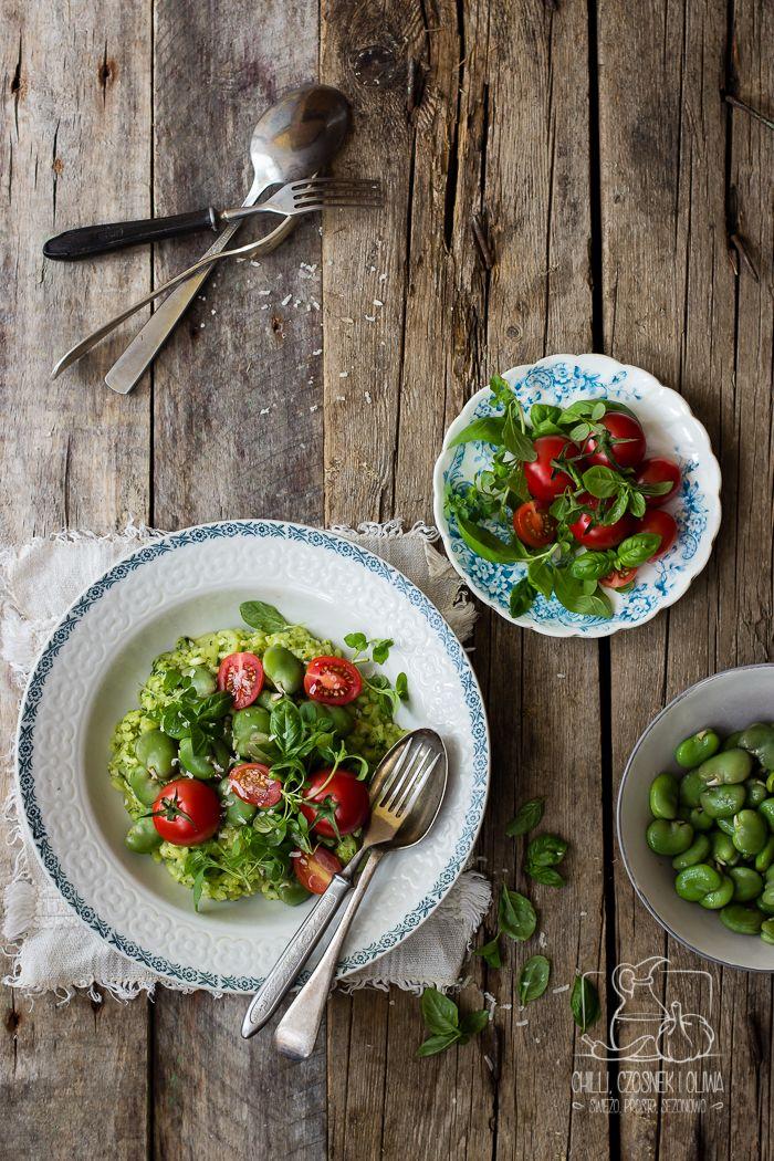Chilli, Czosnek i Oliwa | blog kulinarny: Risotto z bobem, ziołowym pesto i pomidorkami kokt...