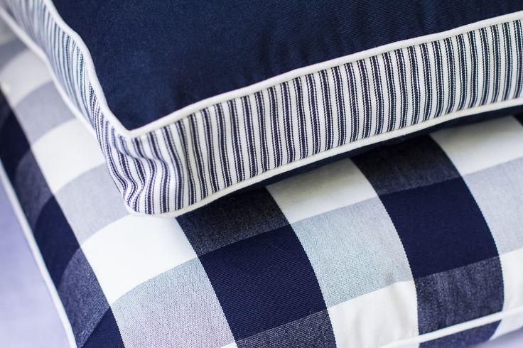Ancona Beach Check & Walled Cushion http://shop.lamiabellacasa.com.au/ancona-range/