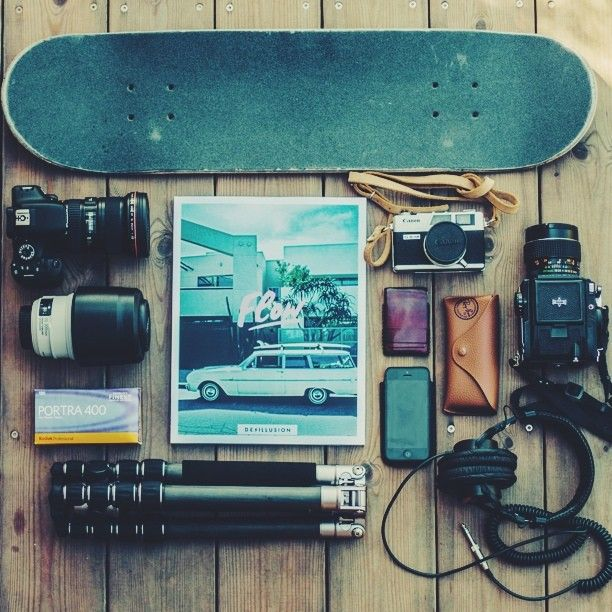 Survival skate kit #skate #board #camera http://thedailyboard.tumblr.com/post/60538716459/survival-skateboard-photographer-kit-more