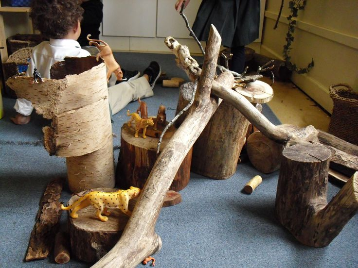 tree trunks and branches always in use in the construction area....this year, many children have shown a preference for these over unit blocks