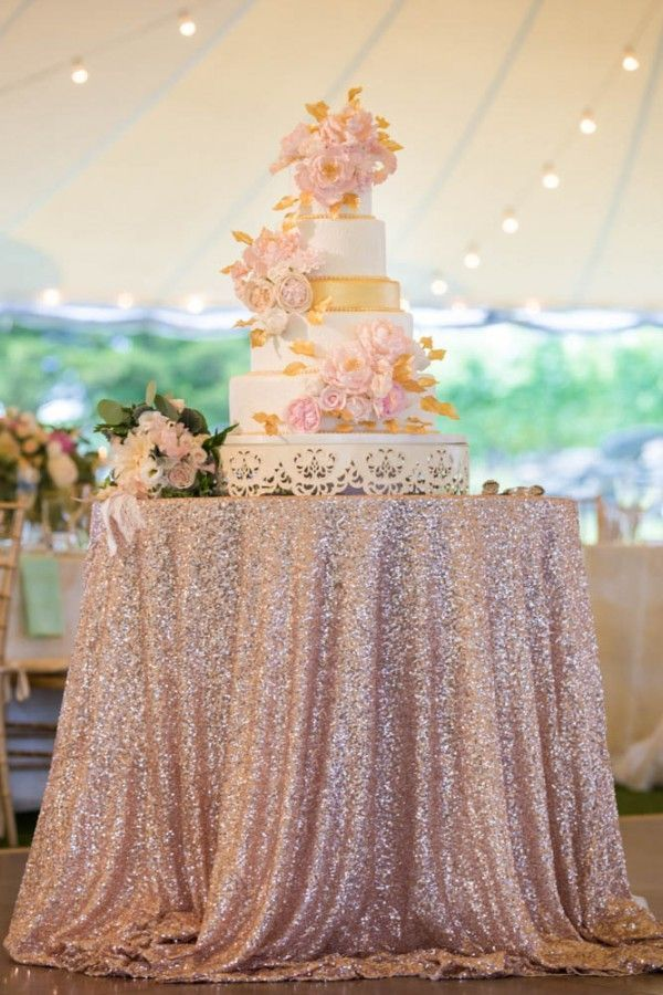 Blush and gold wedding cake on a rose gold sequin table | Melani Lust Photography